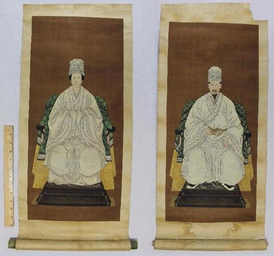 Antique Japanese Scroll: Antique Circa-1800 Korean/Chinese Ancestral Silk Portrait