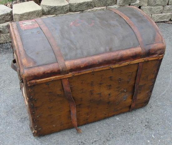 Auto Antique Wicker Trunks : Rare antique french goyard leather brass wood