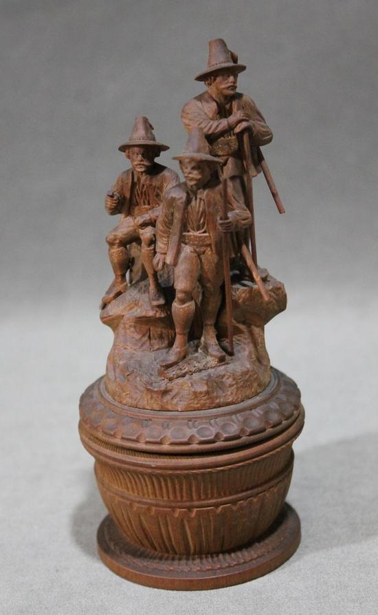 Antique german black forest wood carving hunters
