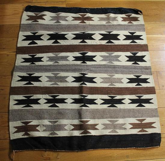 Antique C1920s American Navajo Indian Woven Wool Rug, Arts
