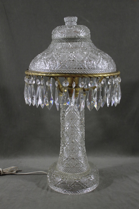 Vintage Crystal Lustre Lamp Lights With Prisms Images Frompo
