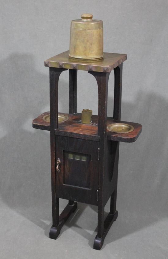 Antique Early 20thc Arts Amp Crafts Brass Amp Oak Smoke Stand