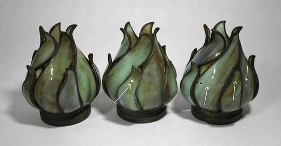 5 Antique Victorian Slag Art Glass Flame Torchiere Lamp