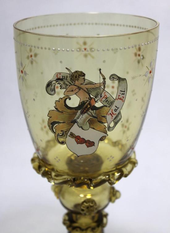 Antique German Bohemian Hand Blown Wine Glass Goblets