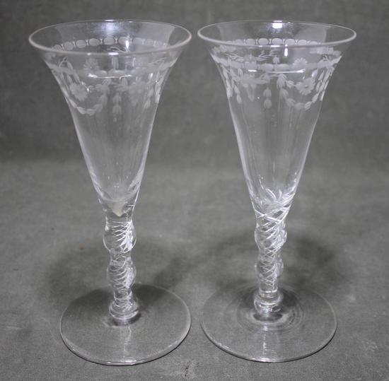 Pair Antique Early 19thc Hand Blown Air Twist Stem Wine