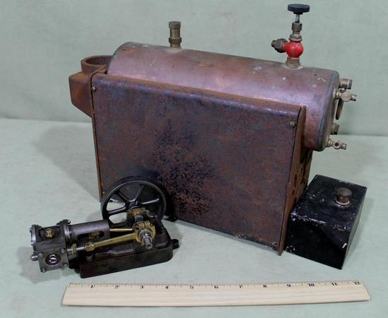 Old Steam Iron ~ Antique stuart live steam engine cast iron w boiler nr