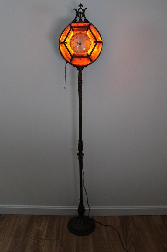 rare antique arts crafts sessions clock mica shade floor. Black Bedroom Furniture Sets. Home Design Ideas