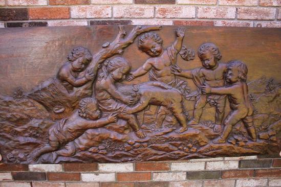 Antique oak victorian architectural frieze relief