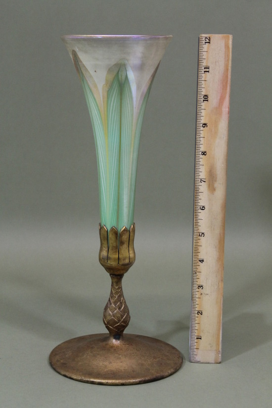 Antique lct tiffany favrile feather art glass vase pinecne