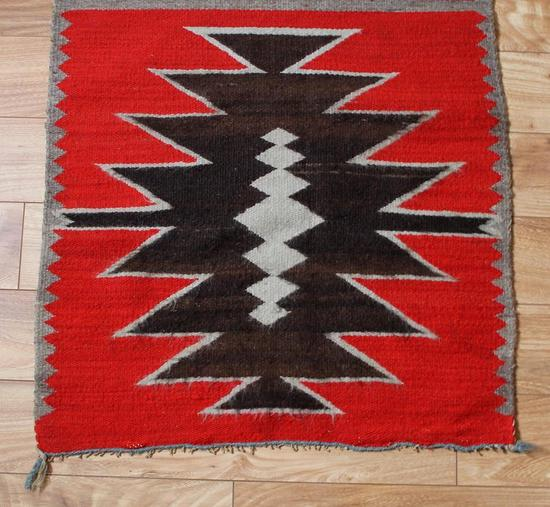 Antique Western Navajo, Double Saddle Blanket, Hand Spun