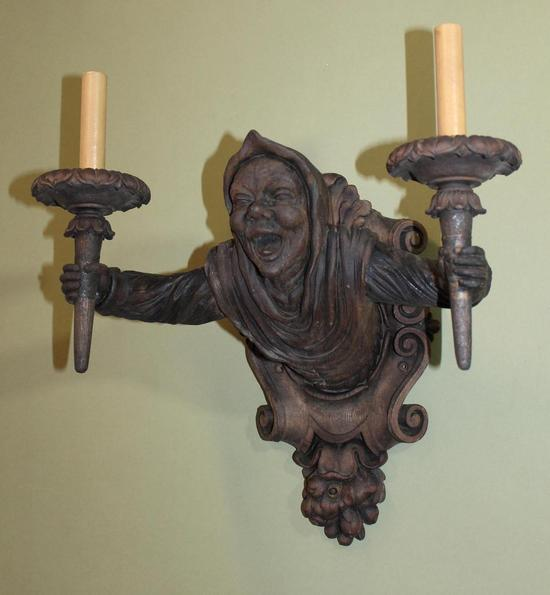 Wall Light Sculpture: Antique Black Forest Carved Wood Gothic Medieval Man Lamp