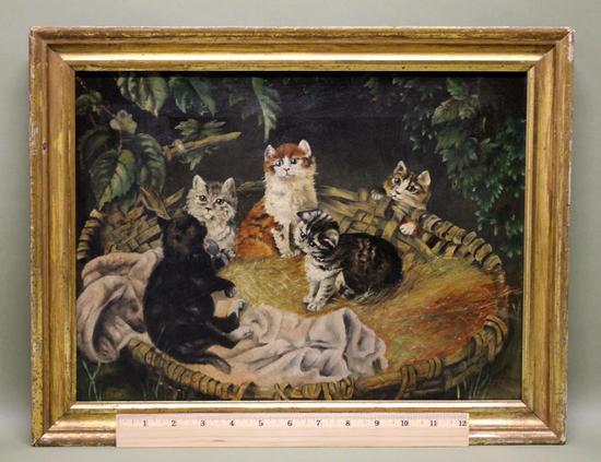 Antique Circa 1900 American Folk Art O C Oil Painting