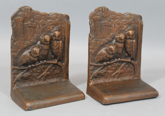 Antique wb 645 weidlich brothers arts crafts gothic bronze clad owl bookends ebay - Gothic bookends ...