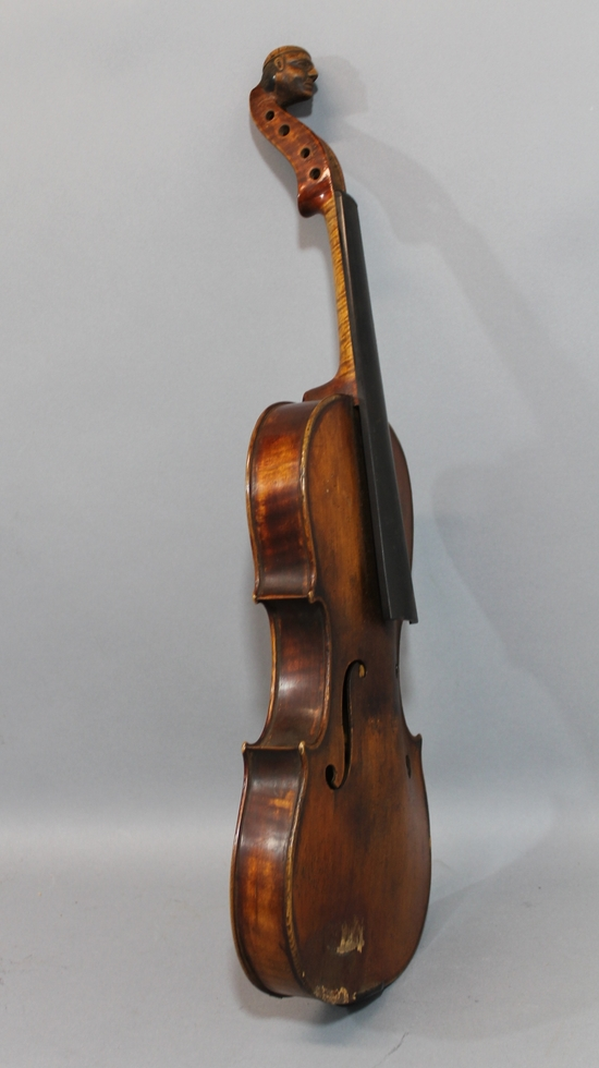 Antique figured maple violin w carved figural peg box