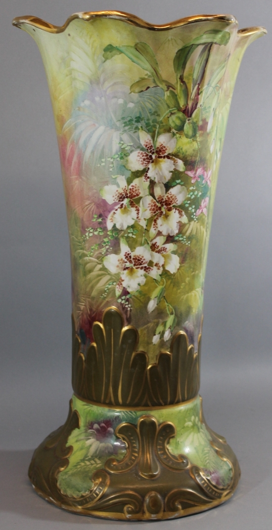 Large 2 foot tall antique hand painted orchid flowers for Floor vase with flowers