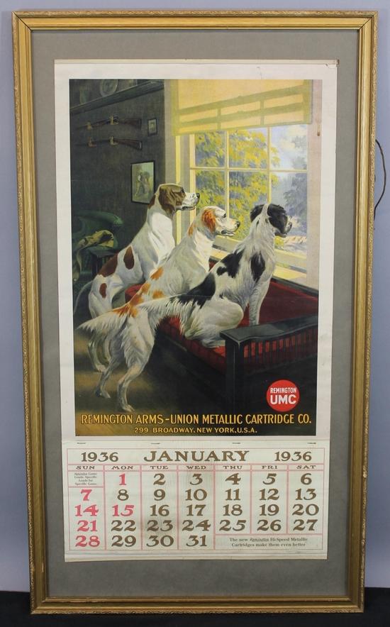 Remington Calendar Art : Antique remington arms calendar english pointer