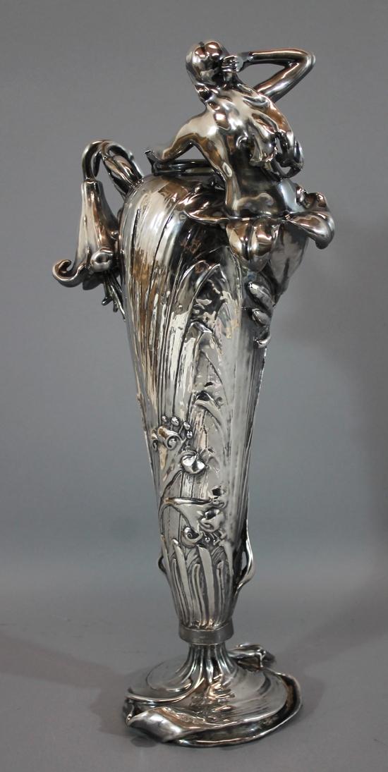 Antique Art Nouveau Gorham Silver Amphora Pottery Turn