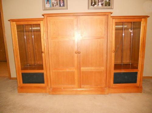 Wooden Entertainment Center With Doors ~ Thomasville piece oak entertainment center hide a way