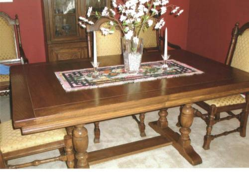 ethan allen dark solid oak dining room set pedestal table 6 chairs