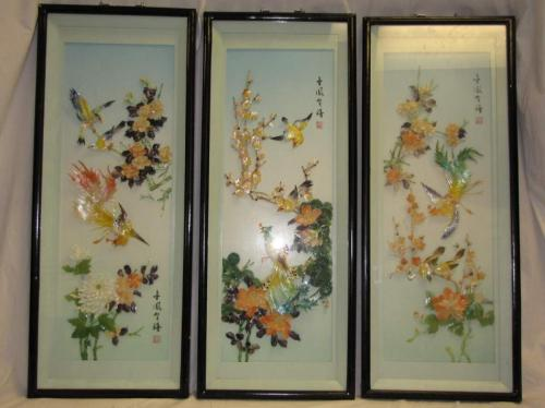 3 vintage chinese 3d shadow box wall art mother of pearl. Black Bedroom Furniture Sets. Home Design Ideas
