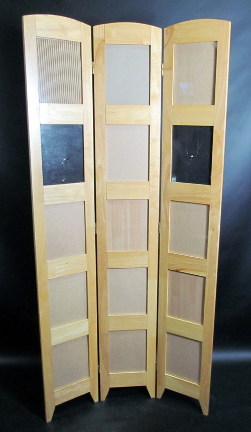 3 panel wood room divider privacy curtain w photo picture - Room divider picture frames ...
