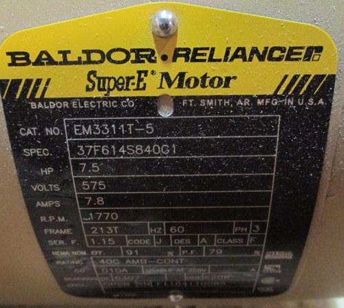 New baldor reliance super e motor hp 7 5 rpm 1770 em3311t for Baldor reliance super e motor
