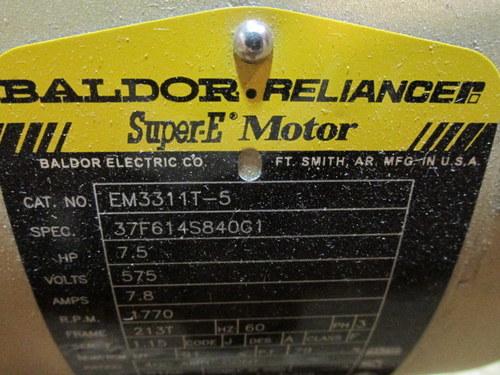 New baldor reliance super e motor hp 7 5 rpm 1770 em3311t 5 for Baldor reliance super e motor