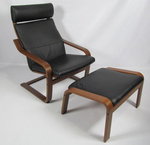 Ikea POANG Black Leather & Dark Brown Chair and Foot Rest ...