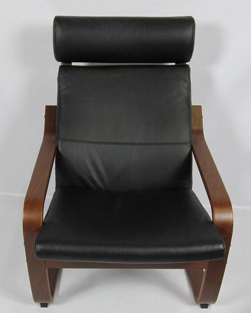 Ikea poang black leather dark brown chair and foot rest - Poang chair leather ...