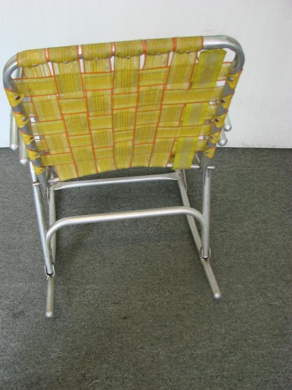 Vintage folding aluminum webbed rocking lawn chair w for Lawn chair webbing