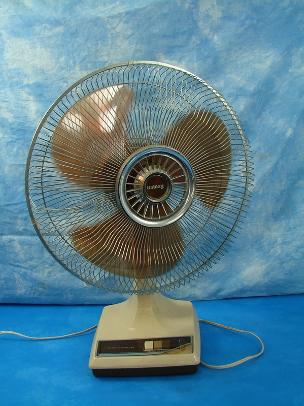 Table Top Oscillating Fan : Vintage quot galaxy oscillating desk table top fan brown