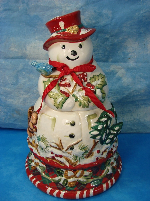 ... Tracy Porter Christmas Cookie Jar Jolly Old Snowy Snowman | eBay