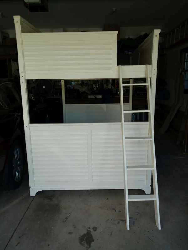 Full Sized White Wood Loft Dorm College Room Elevated Bed Bedroom Furniture Set Ebay
