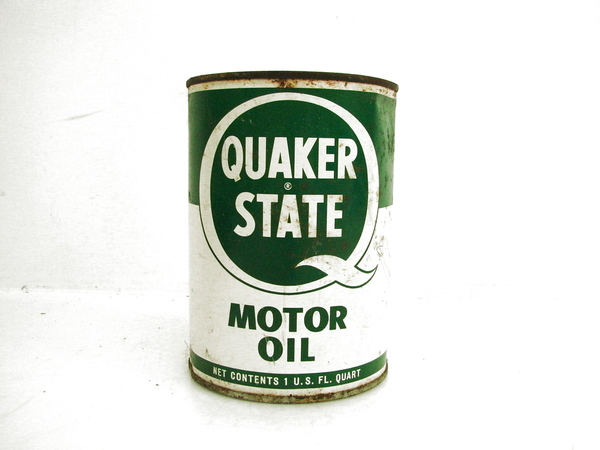 vtg quaker state motor oil quart full tin can lubricating