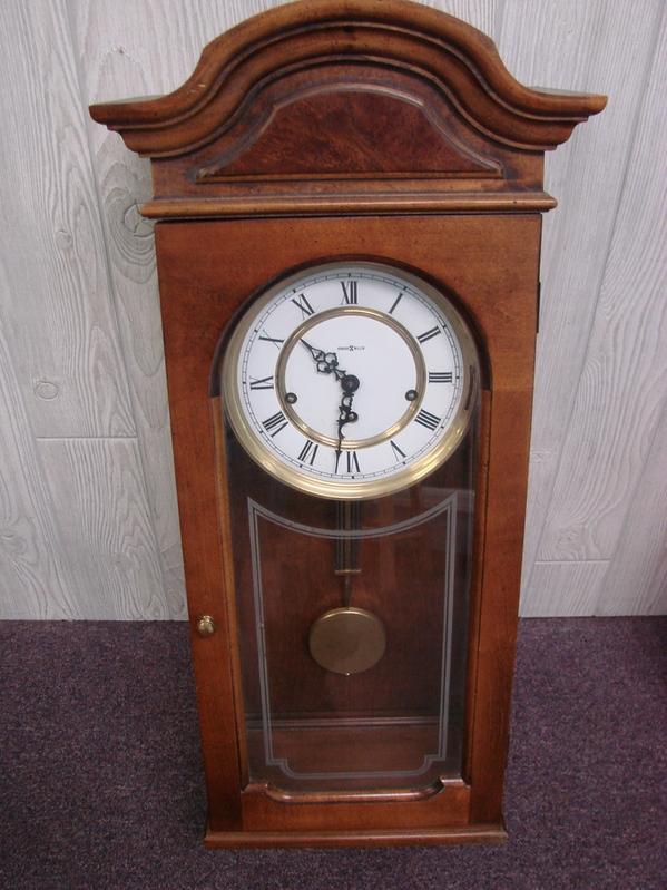 vintage howard miller triple chime wood wall clock model