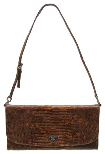 black and white prada handbags - Prada Brown Snakeskin Leather Pochette Handbag with Duster Bag ...