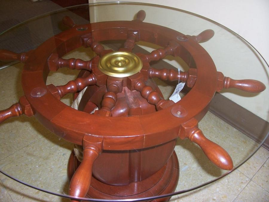 Nautical Ship 39 S Wheel Helm Wood Glass Coffee End Table