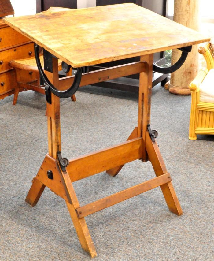 antique hamilton economy drafting table wood cast iron