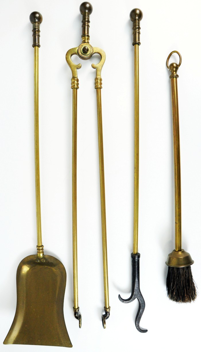 8 pc 1930 jewel brass fireplace set tools screen andirons for Arts and crafts tools