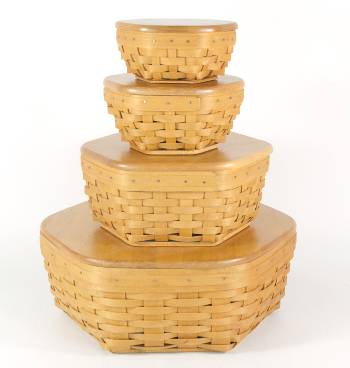 Set Of 4 Longaberger Generation Baskets With Lids And