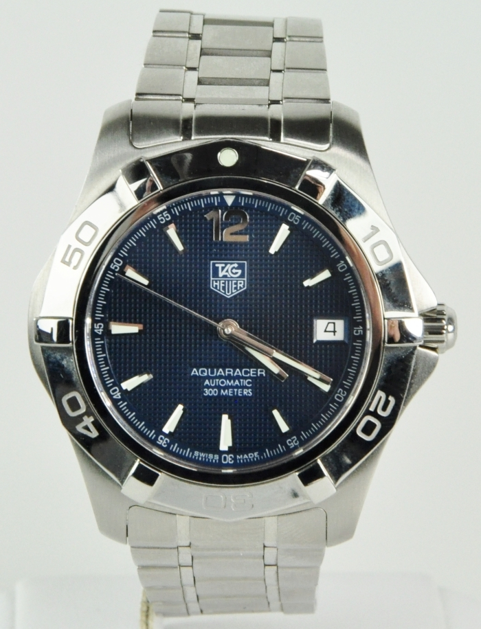 Mens tag heuer aquaracer ss 300m automatic watch blue face dial waf2112 auto ebay for Tag heuer aquaracer 300m