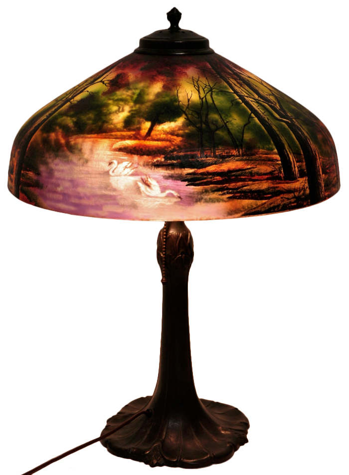 Reverse Painted Glass Dome Lamp Shade