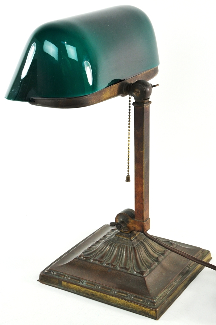 Antique Bankers Lamp Green Cased Glass Shade Emeralite No