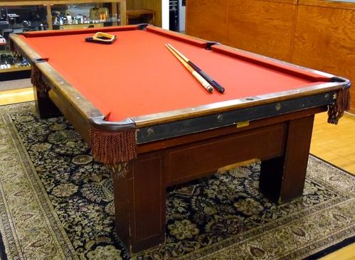 Antique 1917 bbc jefferson billiards pool table mahogany for Oak beauty pool table