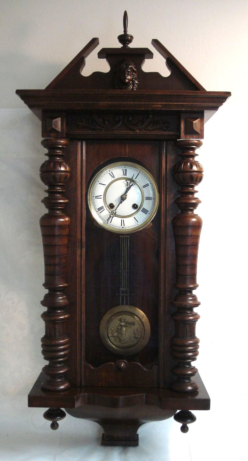 antique german vienna regulator wall clock figural