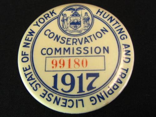Antique 1917 ny hunting trapping license new york state for Idaho out of state fishing license