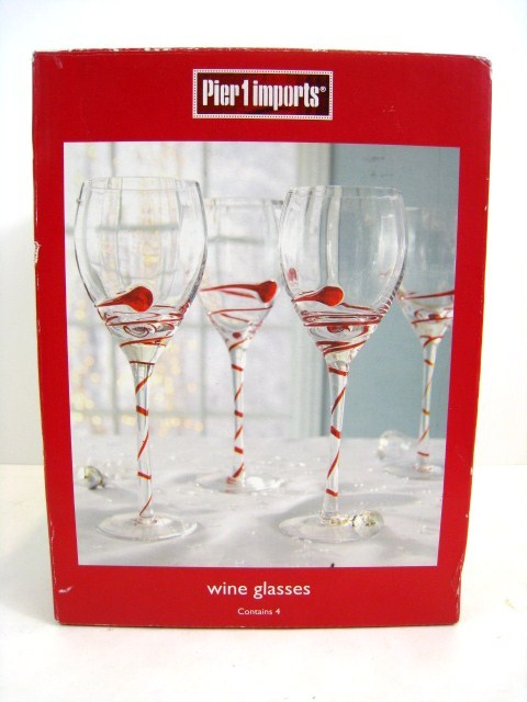 4 pier 1 imports wine glasses red swirl stemware holiday for Holiday stemware