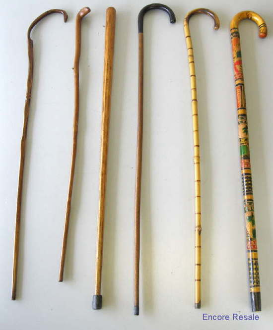 Lot 6 vintage wood canes walking sticks bamboo carved for Uses for bamboo canes