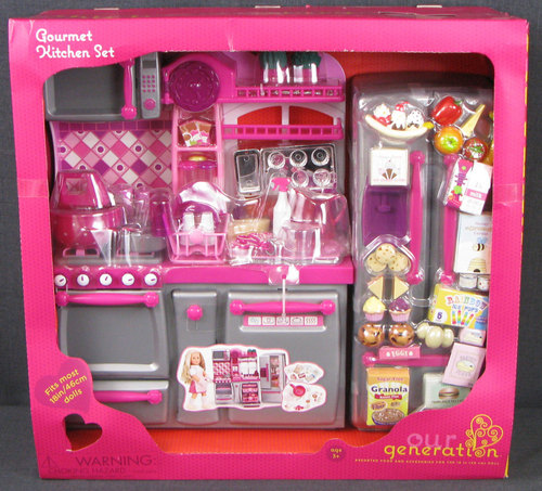 Gourmet kitchen set silver pink our generation 18 for Doll kitchen set