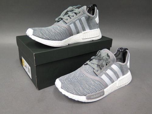 Adidas NMD R1 bb2886 gris / blanco glitch zapatos corrientes de los hombres de tamaño